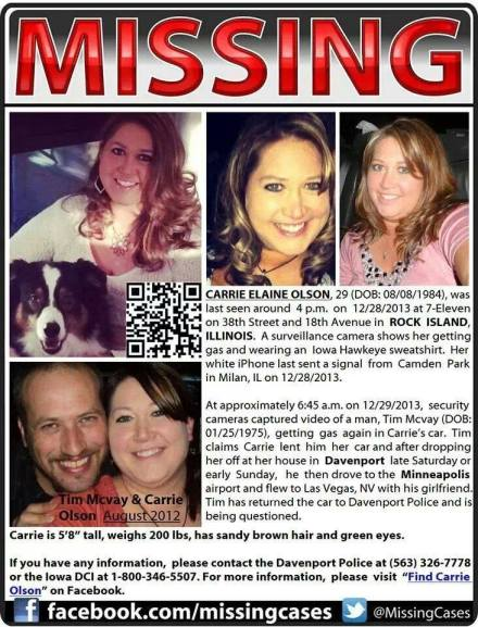 Carrie Olson Missing Persons Poster