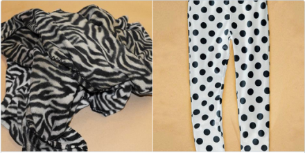 Image depicting zebra-striped blanket and white pajama pants with black polka-dots
