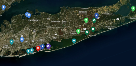 Map of Long Island, depicting locations of murder victims